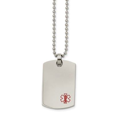 Picture of Stainless Steel Medical Dog Tag 24 Inch Necklace