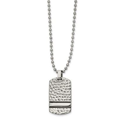 Picture of Stainless Steel Antiqued Polished Hammered Reversible Dog Tag 22 Inch Necklace