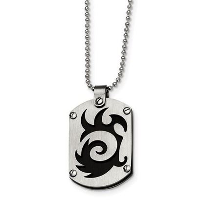 Picture of Stainless Steel Black IP-plated Swirl Dog Tag 24 Inch Necklace