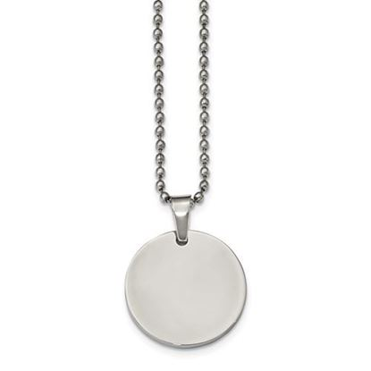 Picture of Stainless Steel Brushed and Polished Round 2.0mm Dog Tag 24 Inch Beaded Necklace