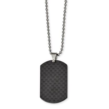 Picture of Stainless Steel Brushed Black Solid Carbon Fiber Dog Tag 22 Inch Necklace
