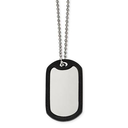 Picture of Stainless Steel Brushed Mirrored Removeable Black Rubber Dog Tag 24 Inch Necklace