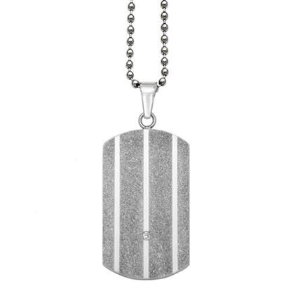 Picture of Stainless Steel .02 TCW Diamond Dog Tag 24 Inch Necklace