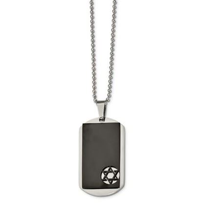 Picture of Stainless Steel Polished Black IP-plated Star of David Dog Tag 22 Inch Necklace