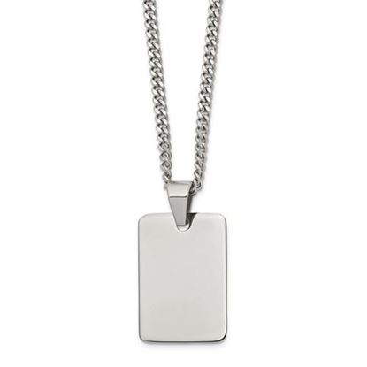 Picture of Stainless Steel Polished Dog Tag 24 Inch Necklace