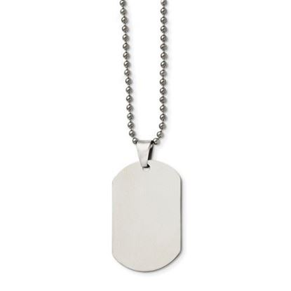 Picture of Stainless Steel Polished Dog Tag 24 Inch Beaded Necklace