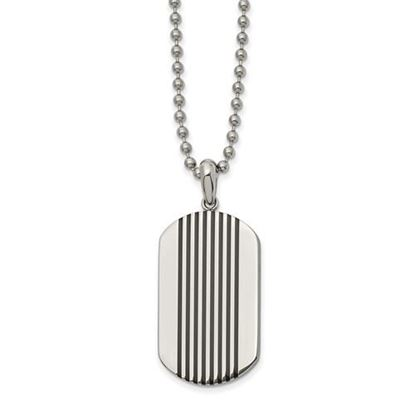 Picture of Stainless Steel Polished with Black Enamel Stripes Dog Tag 22 Inch Necklace