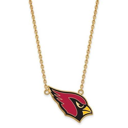 Picture of Arizona Cardinals Gold Plated Enamel Pendant 18 Inch Necklace