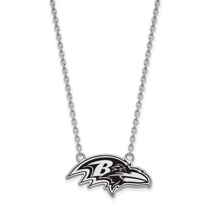Picture of Baltimore Ravens Sterling Silver Enamel Pendant 18 Inch Necklace