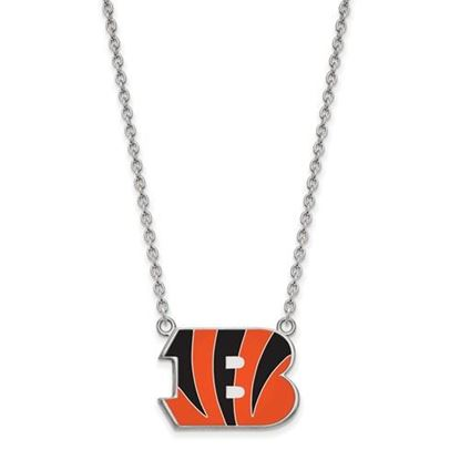 Picture of Cincinnati Bengals Sterling Silver Enamel Pendant 18 Inch Necklace