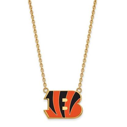 Picture of Cincinnati Bengals Gold Plated Enamel Pendant 18 Inch Necklace