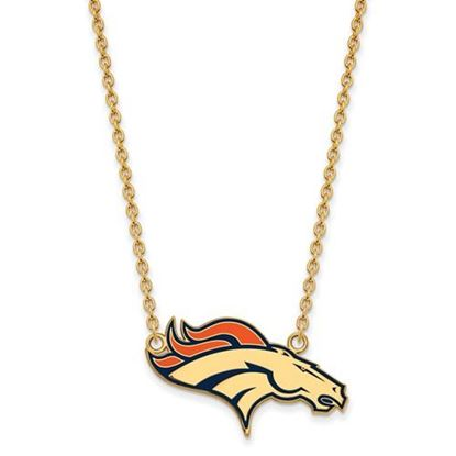 Picture of Denver Broncos Gold Plated Enamel Pendant 18 Inch Necklace