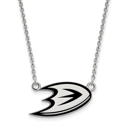 Picture of Anaheim Ducks Sterling Silver Enameled Pendant 18 Inch Necklace