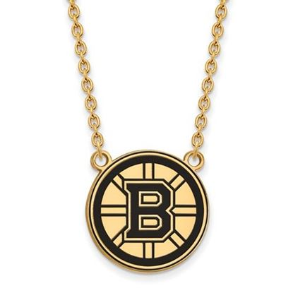 Picture of Boston Bruins Gold Plated Enameled Pendant 18 Inch Necklace