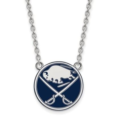 Picture of Buffalo Sabres Sterling Silver Enameled Pendant 18 Inch Necklace