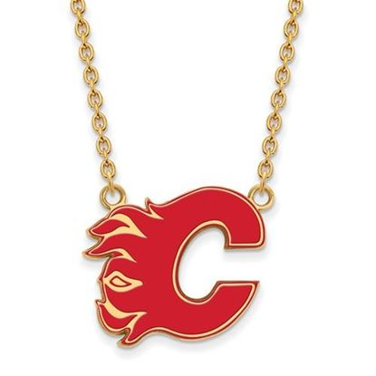 Picture of Calgary Flames Gold Plated Enameled Pendant 18 Inch Necklace