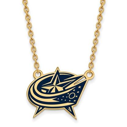 Picture of Columbus Blue Jackets Gold Plated Enameled Pendant 18 Inch Necklace