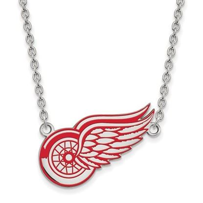 Picture of Detroit Red Wings Sterling Silver Enameled Pendant 18 Inch Necklace
