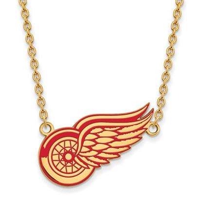 Picture of Detroit Red Wings Gold Plated Enameled Pendant 18 Inch Necklace