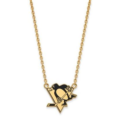 Picture of Pittsburgh Penguins Gold Plated Enameled Pendant 18 Inch Necklace