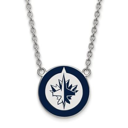 Picture of Winnipeg Jets Sterling Silver Enameled Pendant 18 Inch Necklace