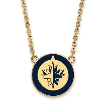 Picture of Winnipeg Jets Gold Plated Enameled Pendant 18 Inch Necklace