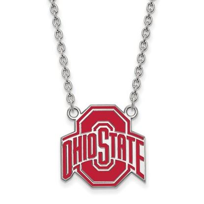 Picture of Ohio State Buckeyes Sterling Silver Enamel Pendant 18 Inch Necklace