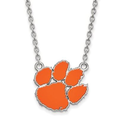 Picture of Clemson Tigers Sterling Silver Enamel Pendant 18 Inch Necklace
