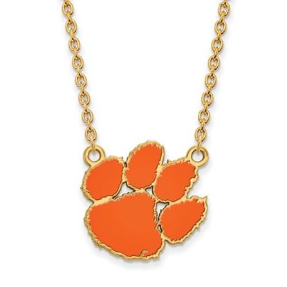Picture of Clemson Tigers Gold Plated Enamel Pendant 18 Inch Necklace