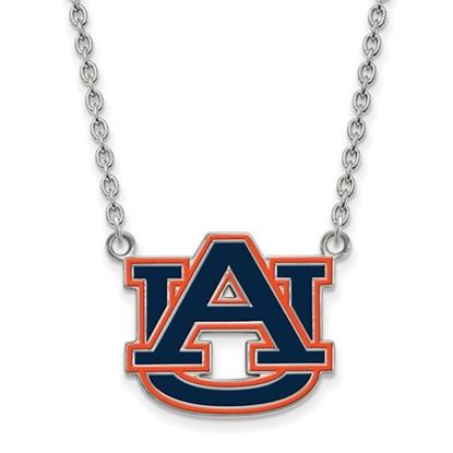 Picture of Auburn Tigers Sterling Silver Enamel Pendant 18 Inch Necklace