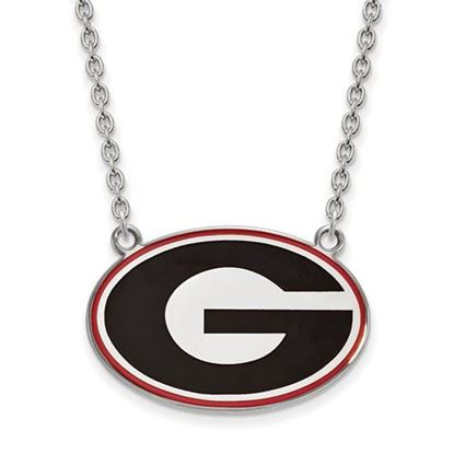Picture of Georgia Bulldogs Sterling Silver Enamel Pendant 18 Inch Necklace