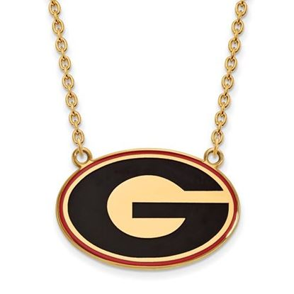 Picture of Georgia Bulldogs Gold Plated Enamel Pendant 18 Inch Necklace