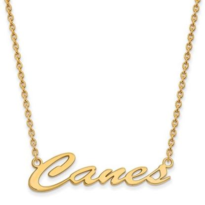 Picture of Miami Hurricanes Gold Plated Pendant 18 Inch Necklace