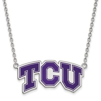 Picture of TCU Horned Frogs Sterling Silver Enamel Pendant 18 Inch Necklace