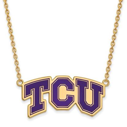 Picture of TCU Horned Frogs Gold Plated Enamel Pendant 18 Inch Necklace