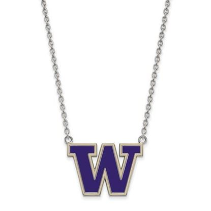 Picture of Washington Huskies Sterling Silver Enamel Pendant 18 Inch Necklace