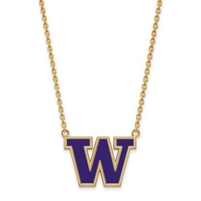 Picture of Washington Huskies Gold Plated Enamel Pendant 18 Inch Necklace