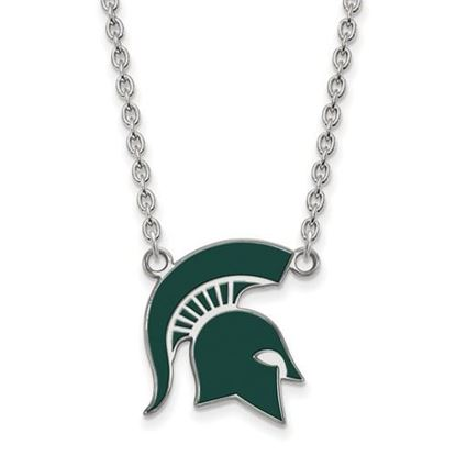 Picture of Michigan State Spartans Sterling Silver Enamel Pendant 18 Inch Necklace