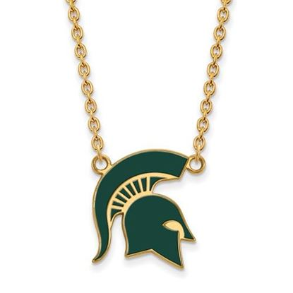 Picture of Michigan State Spartans Gold Plated Enamel Pendant 18 Inch Necklace
