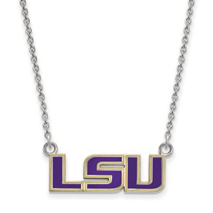 Picture of LSU Tigers Sterling Silver Enamel Pendant 18 Inch Necklace