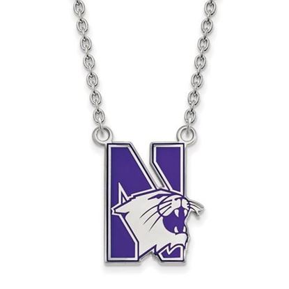 Picture of Northwestern Wildcats Sterling Silver Enamel Pendant 18 Inch Necklace