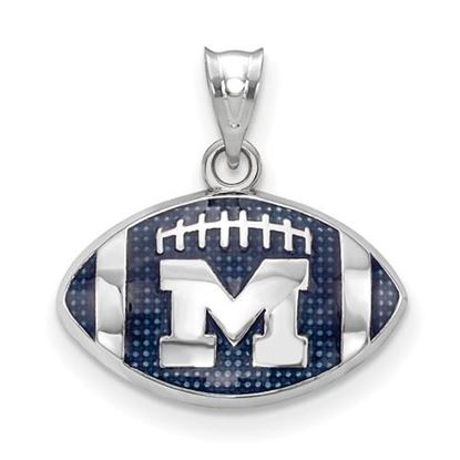 Picture of Michigan Wolverines Domed Enamel Football Pendant