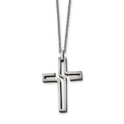 Picture of 20 Inch Stainless Steel Brushed Antiqued Cross Necklace