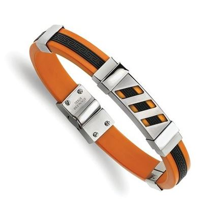 Picture of Stainless Steel Black And Orange Rubber 8 Inch Bracelet