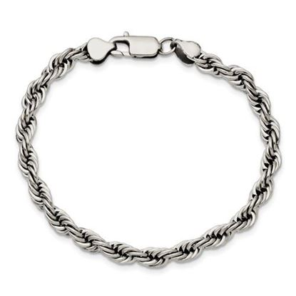 Picture of Stainless Steel Polished 6mm 9 Inch Rope Bracelet