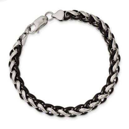 Picture of Stainless Steel Polished And Black IP-Plated 8.25 Inch Bracelet