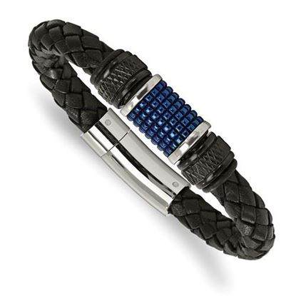 Picture of Stainless Steel Polished Blue IP Black Leather 8.5 Inch Bracelet
