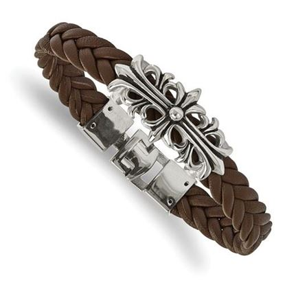 Picture of Stainless Steel Polished Antiqued Brown Leather 8.5 Inch Filigree Bracelet