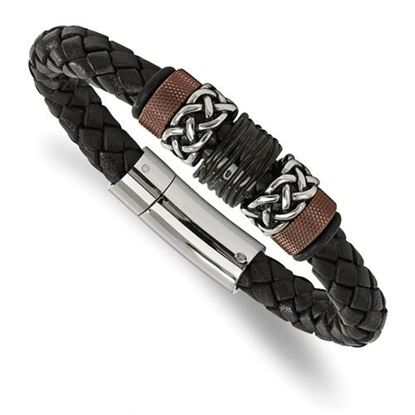 Picture of Stainless Steel Polished Antiqued Black Brown IP Black Leather 8.25 Inch Bracelet