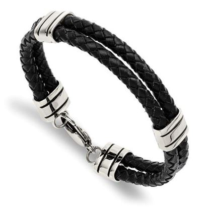 Picture of Stainless Steel Black Leather 9 Inch Bracelet